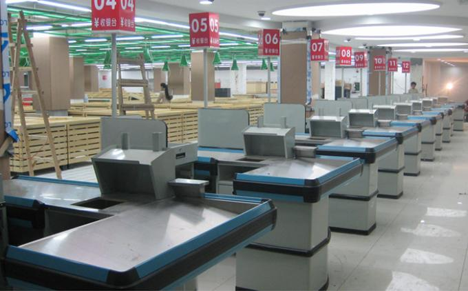 Double Conveyor Belt Supermarket Cashier Counter Desk Retail Store Check Out Stand