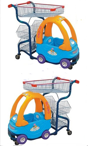 Commercial Cute Kids Play Shopping Trolley Zinc Plated With Baby Car