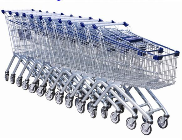 Steel Wire Shopping Trolley Grocery , Supermarket Folding Wire Shopping Cart With Seat