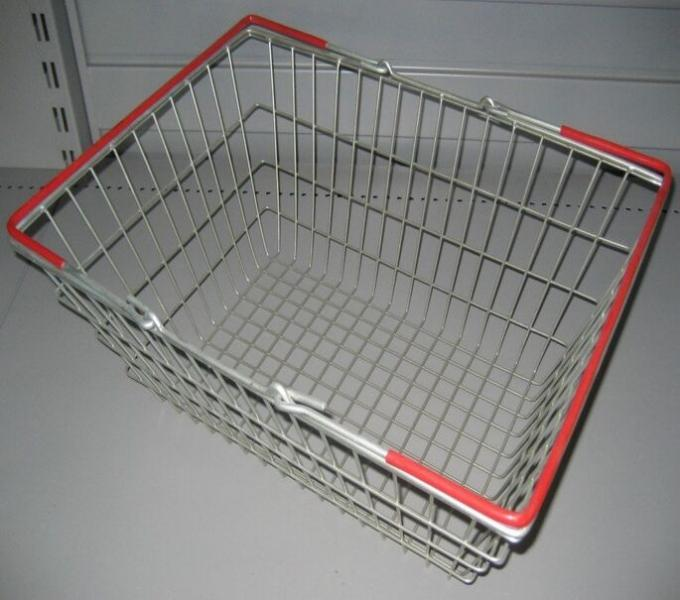 Grocery Store 19L Hand Shopping Basket Zinc Coated Silver Metallic Storage