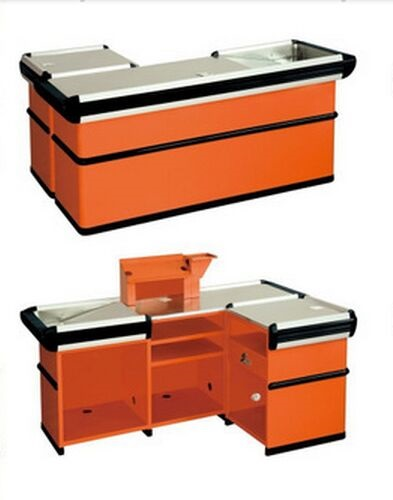 Customized Orange Supermarket Checkout Counter Commercial Anti Rust