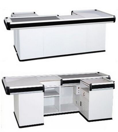 White Supermarket Conveyor Belt Checkout Counter Customized 2300×1200×850 mm