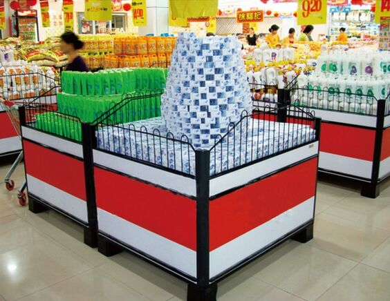 Metallic Supermarket Accessories Promotion Counter Table With Guardrail