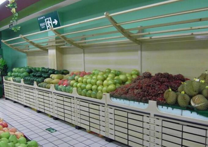 Bottomless Wooden Retail Display Shelves / Fruit Vegetable Wooden Shop Shelving For Store