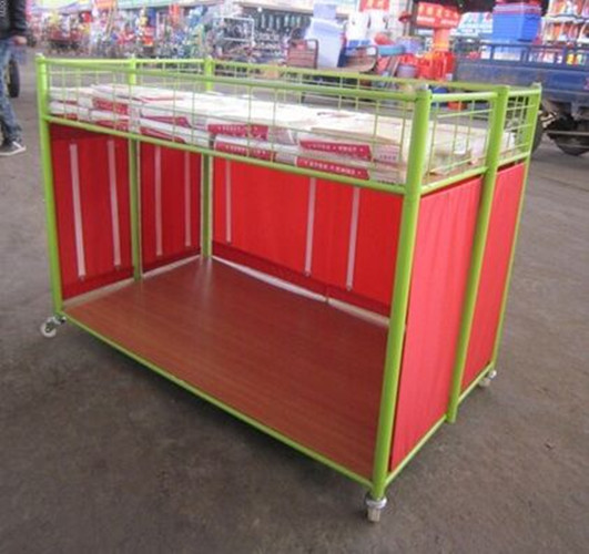 Steel Supermarket Clothes Promotion Cart / Hand Push Exihibition Display Table