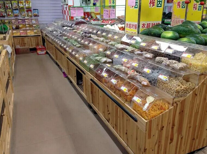 Double Sided Supermarket Wooden Store Display Racks / Wooden Retail Shelving With Acrylic Box