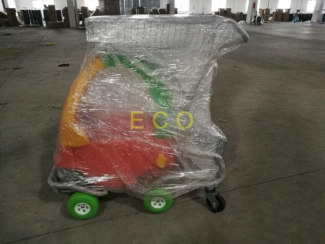 Grocery Plastic Shopping Trolley , Steel Wire Kiddie Trolley Cart With 4 Elevator Wheels