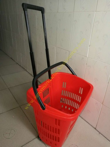 Supermarket Plastic Shopping Basket With Wheels , 455 * 355 * 415 mm