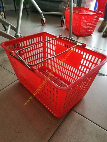 Red Flexible Used Plastic Shopping Baskets With Curved Metal Handles / Grip Hand