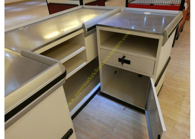 Retail White Supermarket Checkout Counter / Commercial Shop Counter Desk
